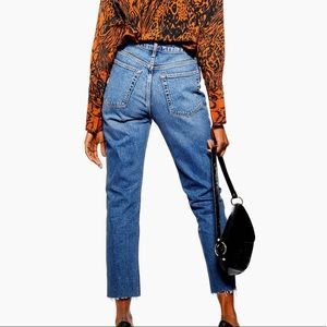 Topshop Editor Rigid Straight Leg Button Fly Jeans